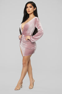 Twisting My Words Velvet Dress - Pink Angle 3