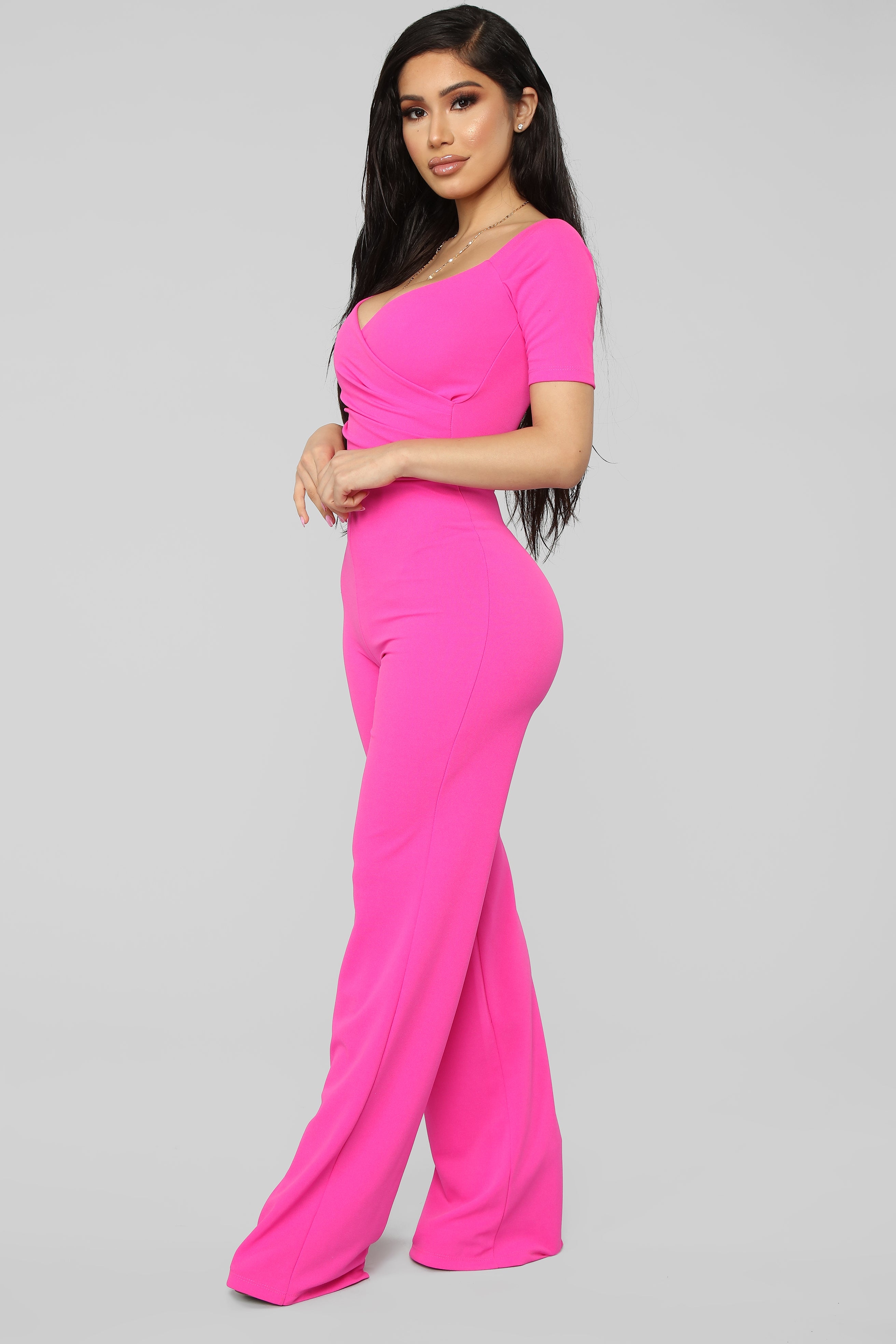 f40e052bf32 When We Love Wide Leg Jumpsuit - Hot Pink