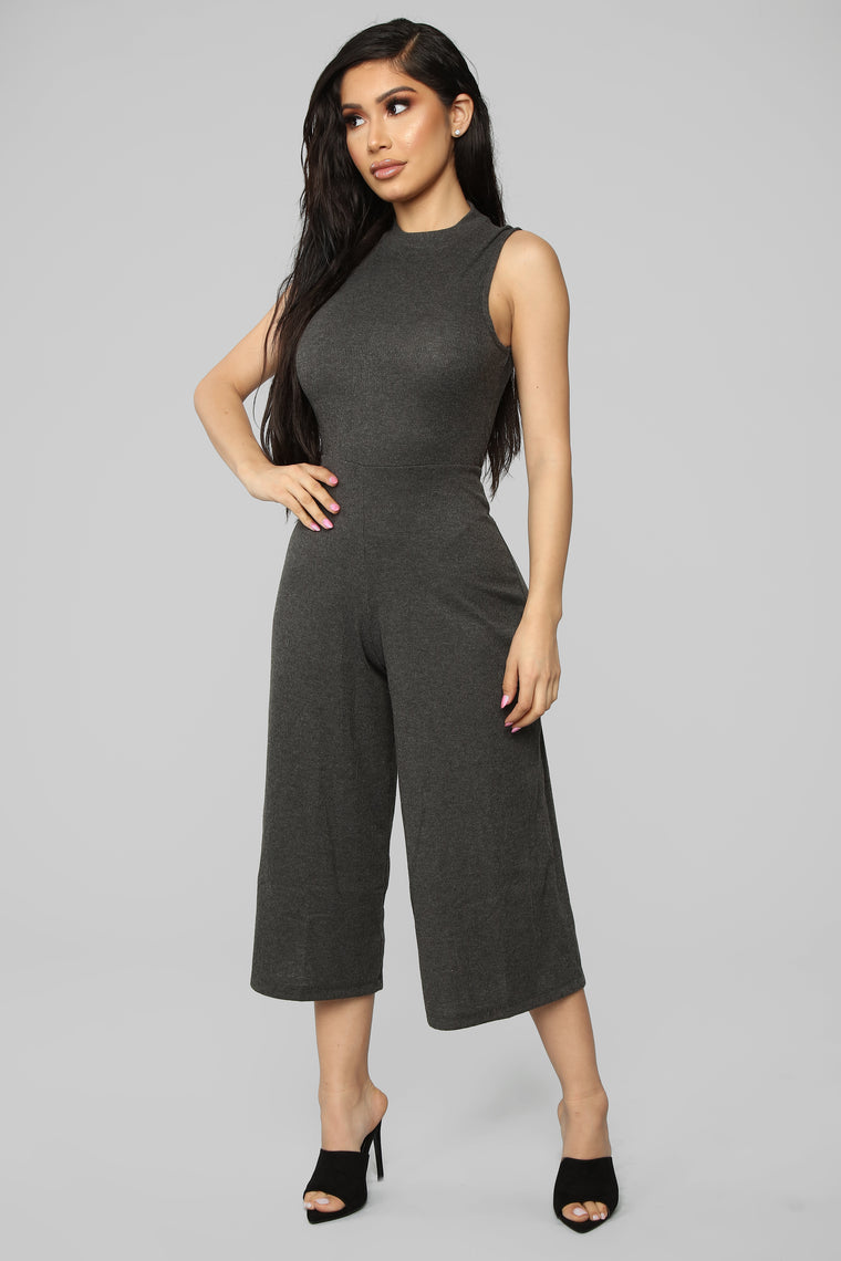 Easy Life Cropped Jumpsuit - Charcoal