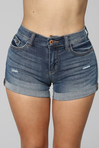 Tanning Szn Denim Shorts - Medium Blue Wash