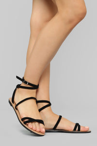 Wait And See Flat Sandals - Black