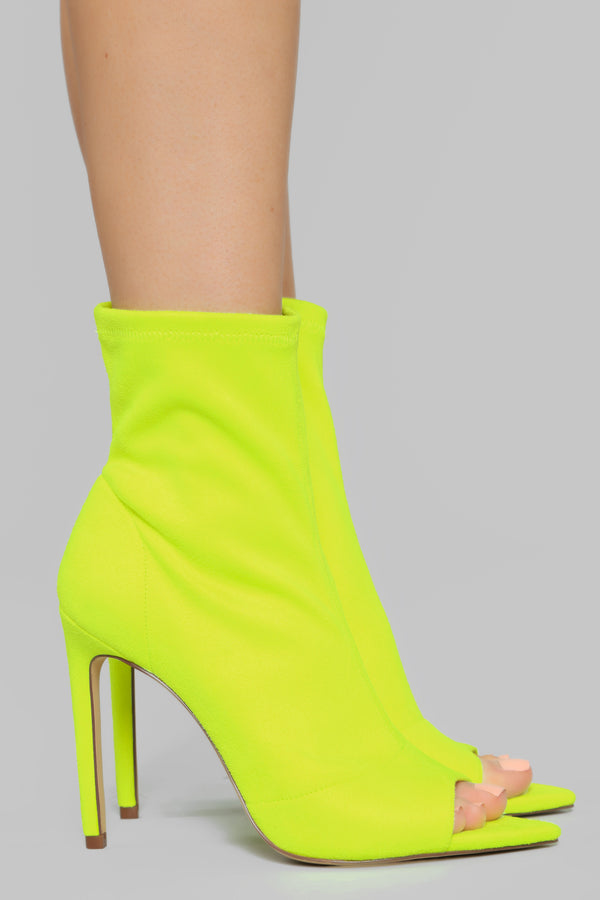 a07459cb260 No Promises Booties - Neon Yellow