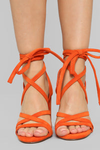 No Hard Feelings Heeled Sandals - Orange
