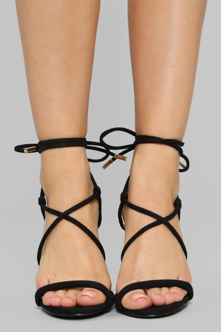 Your Loss Not Mine Heeled Sandals - Black