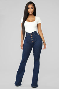 Don't Push Me Flare Jeans - Dark Denim Angle 1