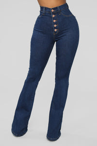 Don't Push Me Flare Jeans - Dark Denim Angle 2