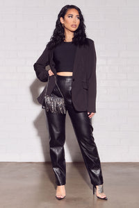Counting Paper Faux Leather Pant - Black Angle 1