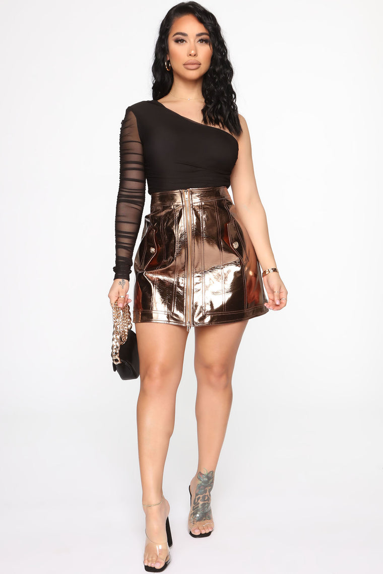 Trying Things Out Vegan Leather Mini Skirt - Bronze
