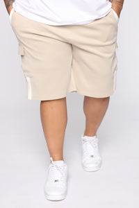 Post Cargo Short - Stone/White Angle 8