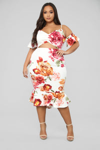 Dreamy Thoughts Floral Midi Dress - Ivory/Multi Angle 6