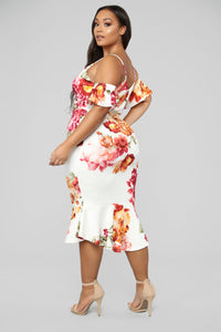 Dreamy Thoughts Floral Midi Dress - Ivory/Multi Angle 9