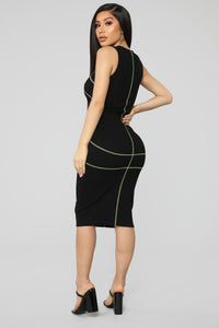 Contrasting Views Ribbed Set - Black/Neon Yellow
