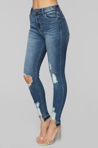 Too Blessed To Be Distressed Jeans - Medium Blue Wash