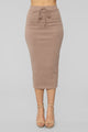 Simplistic Sweater Midi Skirt Set - Mocha