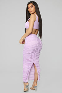 Lana Ruched Skirt Set - Lavender Angle 5
