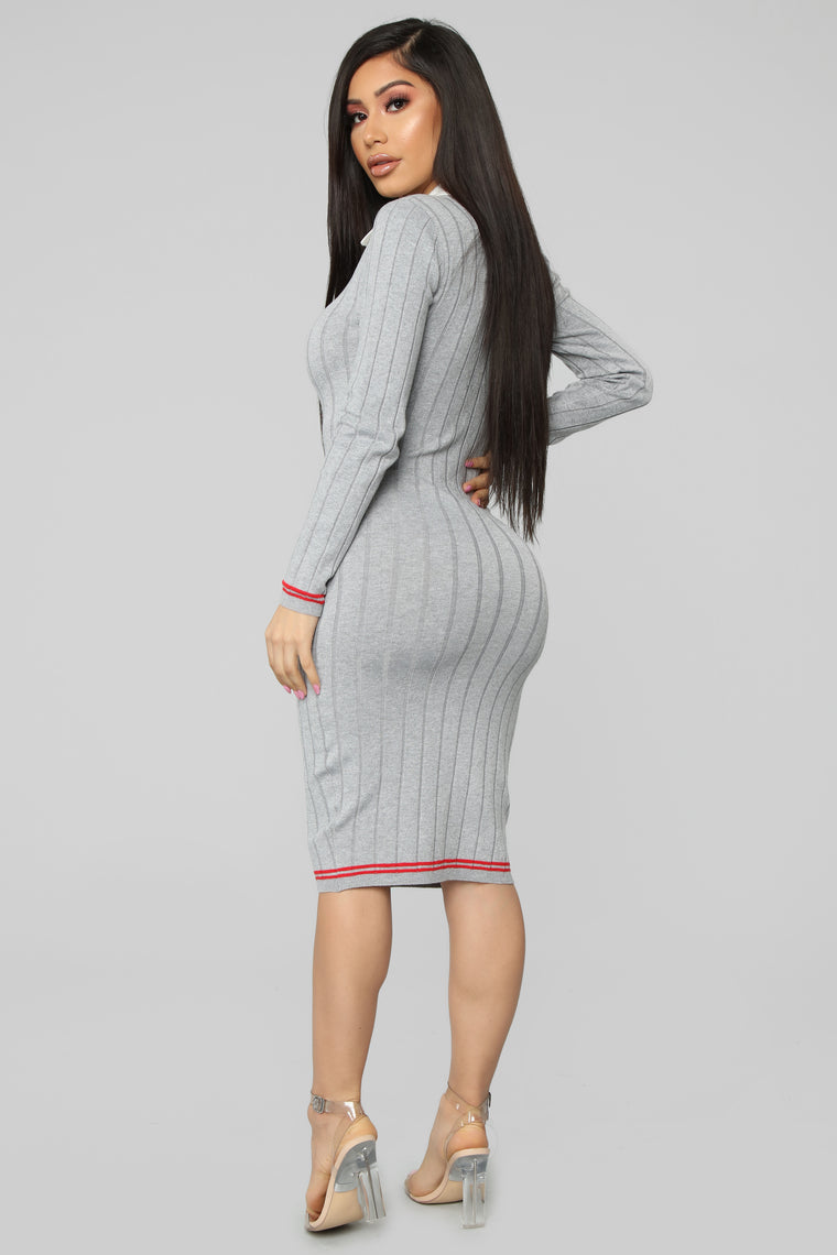 Teach You A Lesson Sweater Dress - Grey