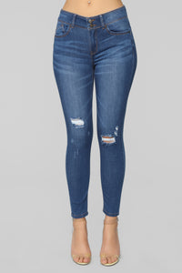 Can't Stop Me Distressed Jeans - Medium Blue Wash