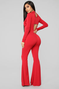 Sneak Peek Cutout Jumpsuit - Red