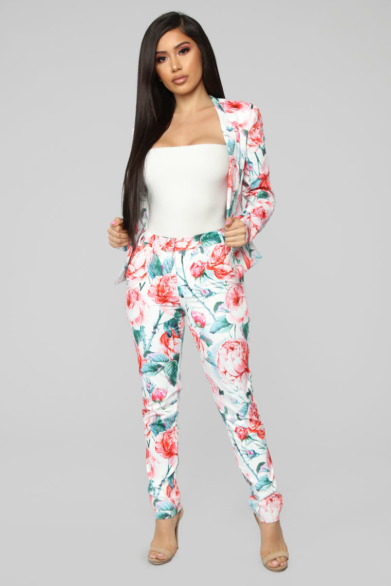 Fields Of Roses Pant Set - White/Combo