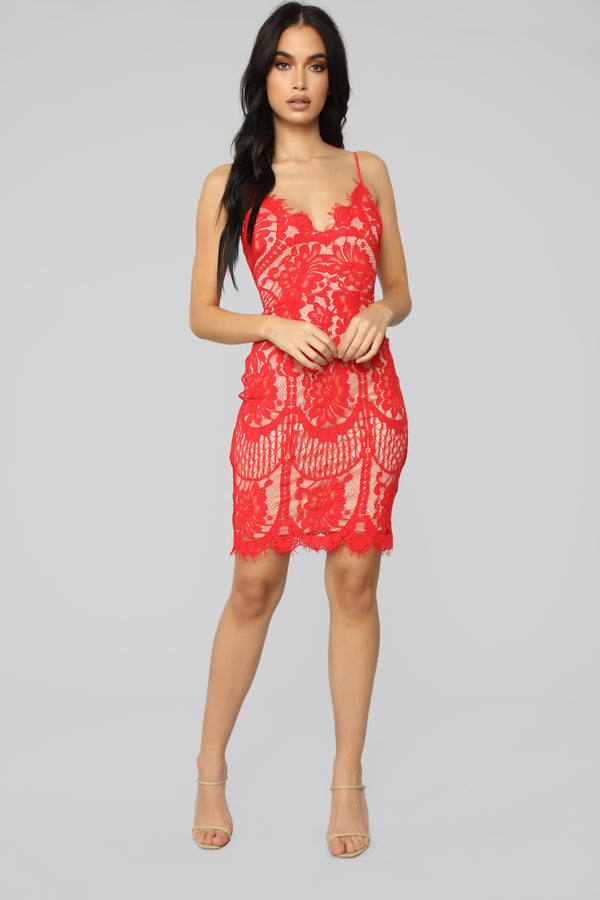0937088a30 Lovely In Lace Midi Dress - Red