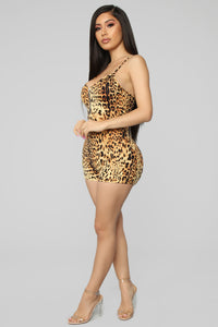 Welcome To My Wild Life Leopard Romper - Yellow/Combo