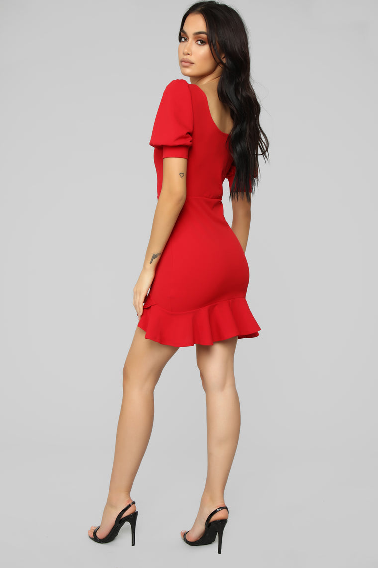 Puff And Pout Ruffle Dress - Red
