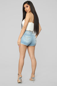Never Home High Rise Shorts - Light Blue