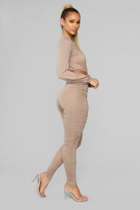 Ravishing Ruched Pant Set - Taupe