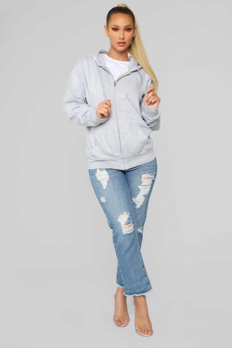 Stole Your Boyfriend's Oversized Zip Up - Heathered Grey