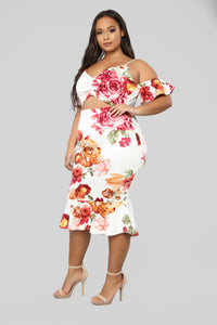 Dreamy Thoughts Floral Midi Dress - Ivory/Multi Angle 8