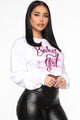 Old School Baby Girl Cropped Sweatshirt - White
