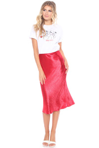 Lucia Satin Midi Skirt - Red Angle 2