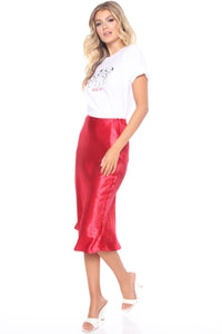 Lucia Satin Midi Skirt - Red Angle 3