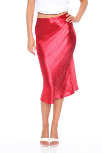 Lucia Satin Midi Skirt - Red Angle 1