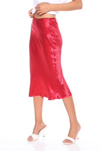 Lucia Satin Midi Skirt - Red Angle 4