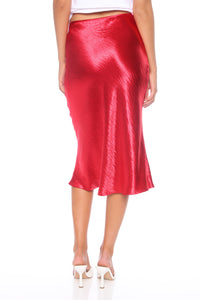 Lucia Satin Midi Skirt - Red Angle 5