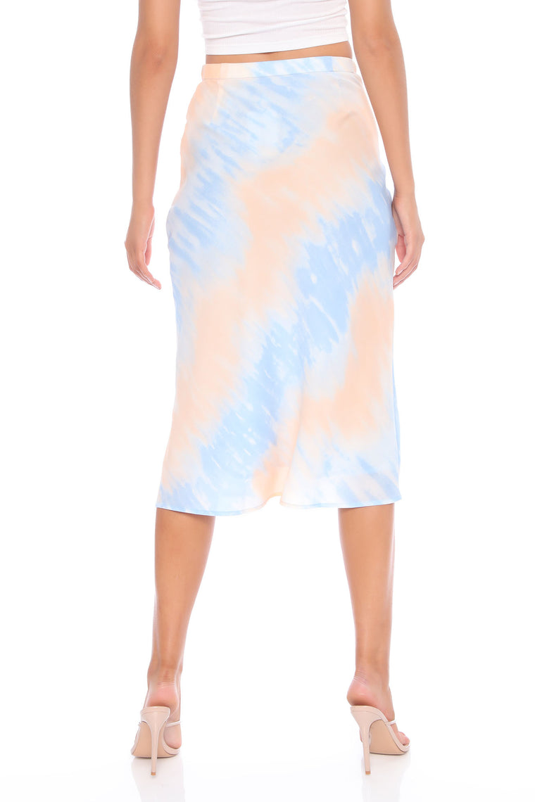 Teagan Tie Dye Midi Skirt - Orange/combo