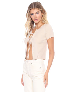 Sawyer Tie Front Top - Nude Angle 4