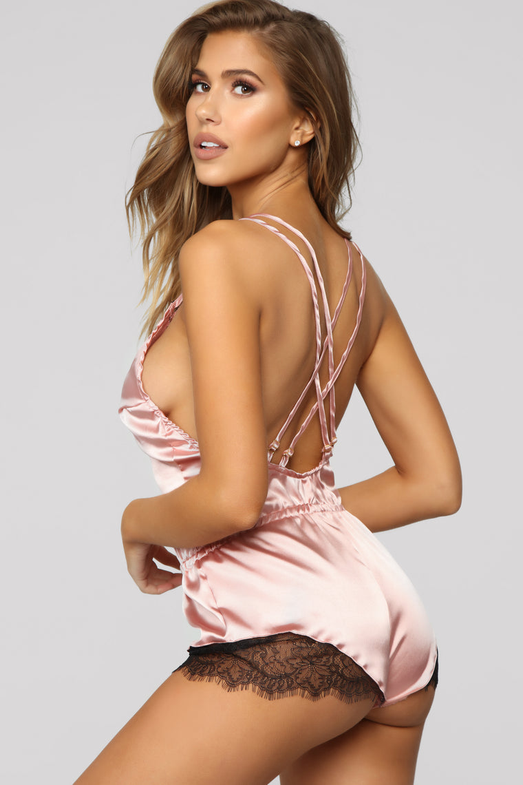 Light Sleeper Satin PJ Romper - Mauve