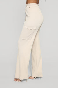 Elevated Ribbed Cargo Pant Set - Taupe