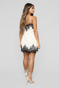 Just A Slip Away Satin Mini Dress - Cream/Black