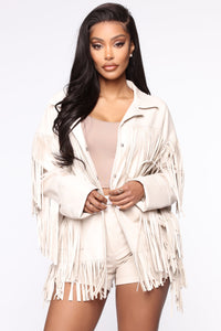 Night At The Rodeo Fringe Jacket - Nude Angle 1