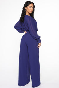 Moonshine Chiffon Jumpsuit - Navy