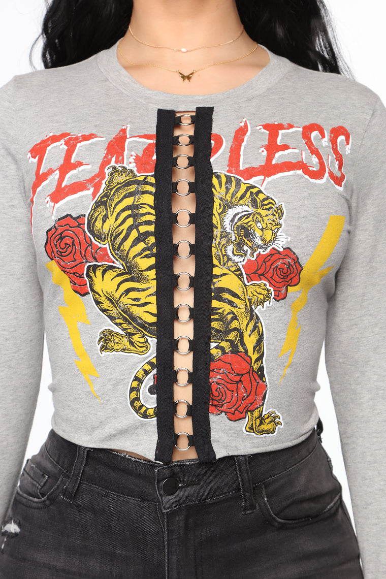 Wild And Fearless Top - Heather Grey