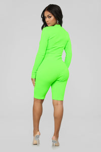 Fun Times Ribbed Romper - Neon Green