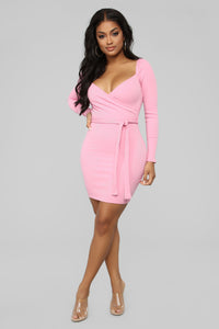 Dating Online Ribbed Mini Dress - Pink