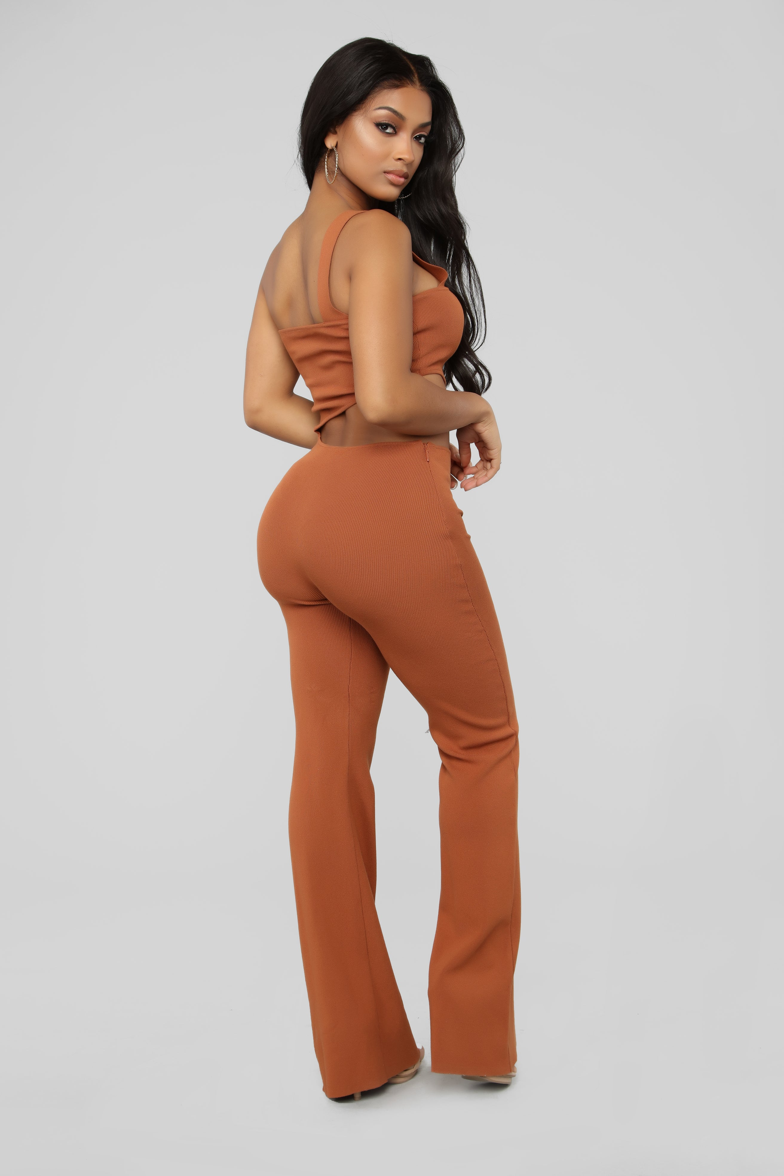 023f31c5a157 Two Become One Wide Leg Jumpsuit - Rust