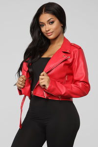Remind Me Later Faux Leather Jacket - Red