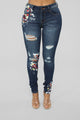 Art From The Heart Mid Rise Jeans - Dark Denim