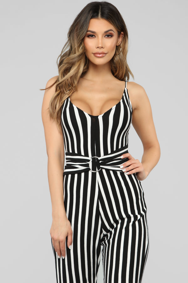 3e5beb2984 Denise Stripe Jumpsuit - Black White